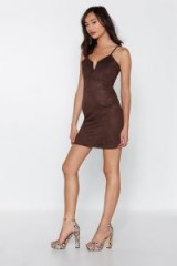 NASTY GAL California Love Faux Suede Mini Dress in chocolate – strappy brown dresses