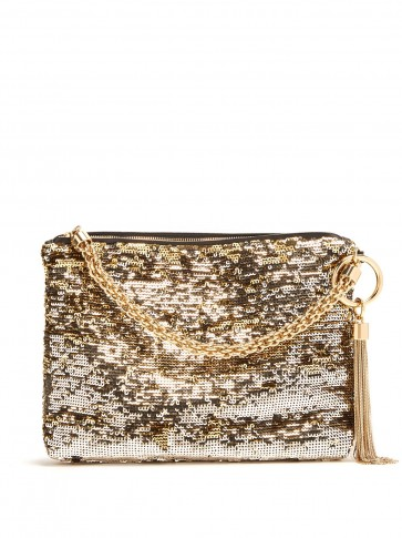 JIMMY CHOO Callie gold sequinned tassel clutch ~ glamorous event accessory