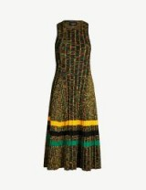 CALVIN KLEIN 205W39NYC Striped ribbed wool-blend midi dress in black multi jonquil lime – luxury knitted dresses