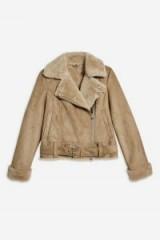 TOPSHOP Camel Suedette Biker Jacket – casual luxe