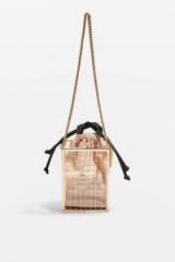 Topshop Cara Cage Cross Body Bag in Gold | small metallic crossbody bags