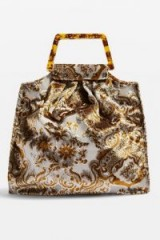 Topshop Caz Porto Carpet Tote Bag in Gold | vintage inspired fabric bags