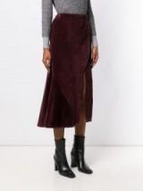 CÉDRIC CHARLIER high waisted corduroy skirt in bordeaux | front slit | asymmetric style