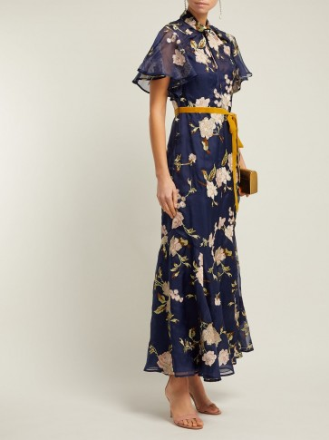 ERDEM Celestina Gertrude-embroidered navy silk-organza gown / feminine occasion dresses