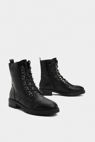NASTY GAL Chain Sailing Biker Boot in black – embellished lace up boots