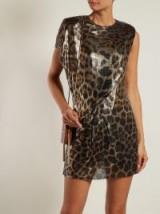 SAINT LAURENT Brown chainmail leopard-print mini dress | party glamour