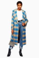 TOPSHOP Check Belted Coat – bold blue checks