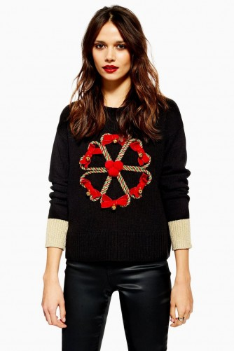 Topshop Christmas Candy Cane Wreath Jumper in Black | embellished Xmas crew neck