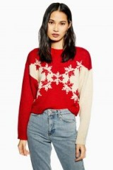 Topshop Christmas Snowflake Chevron Jumper in Red | patterned Xmas crew neck