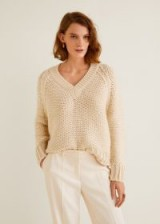 MANGO Chunky-knit sweater – RUSTIC | raglan sleeve V-neck jumper