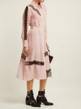 JOSEPH Claude floral-print silk shirtdress ~ lace panel shirt dress