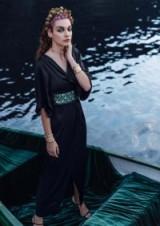 Closet GOLD Black Maxi Contrasting Tie Wrap Dress – metallic style sash