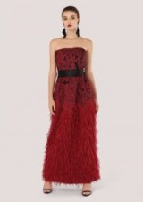 Closet GOLD Raspberry Feather Effect Strapless Dress – feathered maxi