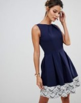 Closet London lace skater dress navy with cream lace hem