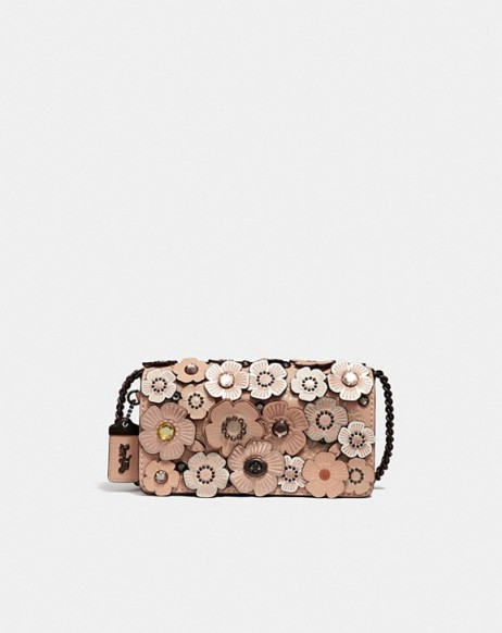 COACH Dinky With Crystal Tea Rose NUDE PINK/PEWTER – small floral bags