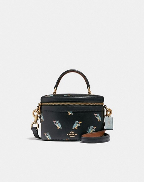COACH Trail Bag With Party Owl Print BLACK/GOLD – small luxury crossbody