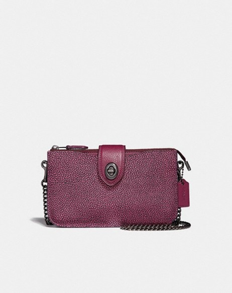 Turnlock Crossbody In Colorblock METALLIC BERRY MULTI/GUNMETAL – small luxe handbags