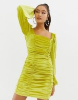 COLLUSION ruched bodycon mini dress in velvet in yellow – fitted party fashion