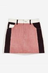 Topshop Colour Block Corduroy Skirt | retro mini