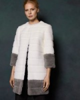 TED BAKER MINIKI Colour block faux fur coat in ivory / luxe coats