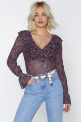 NASTY GAL Come and Lace Me Bodysuit in lilac