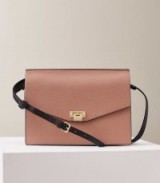 REISS CONWAY LEATHER LOCK CLOSURE SHOULDER BAG ROSEWOOD ~ luxe handbags