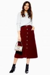 Topshop Corduroy Button Midi Skirt in Burgundy   dark red cord skirts
