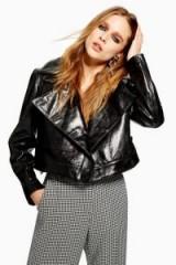 TOPSHOP Cracked Black Leather Jacket