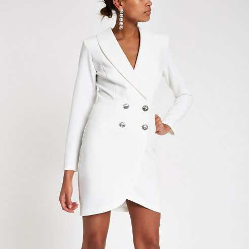River Island Cream diamante embellished bodycon tux dress | luxe style blazer dress