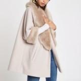 River Island Cream faux fur trim swing coat | winter luxe