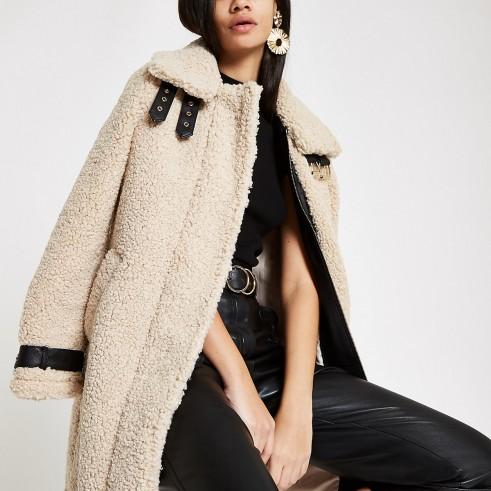RIVER ISLAND Cream oversized shearling fur aviator coat – luxe style winter coat