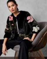 TED BAKER FURRIY Cropped faux fur floral jacket in black