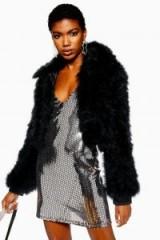 TOPSHOP Cropped Marabou Jacket in Black – glam evening coat