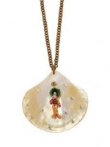 GUCCI Crystal-embellished shell Geisha pendant necklace