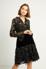 FRENCH CONNECTION CYNTHIA VELVET LACE MIX DRESS in Black | feminine party dresses