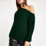 River Island Dark green asymmetric knit jumper | glamorous knits