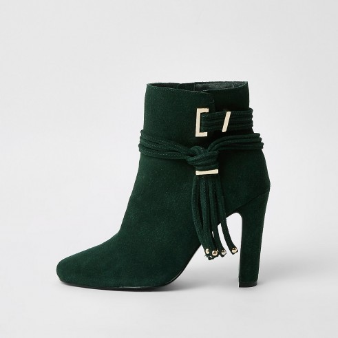 RIVER ISLAND Dark green suede tassel side boots – fringed ankle boot