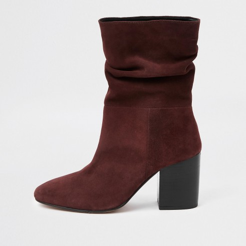 RIVER ISLAND Dark red block heel slouch boots – slouchy ankle boot