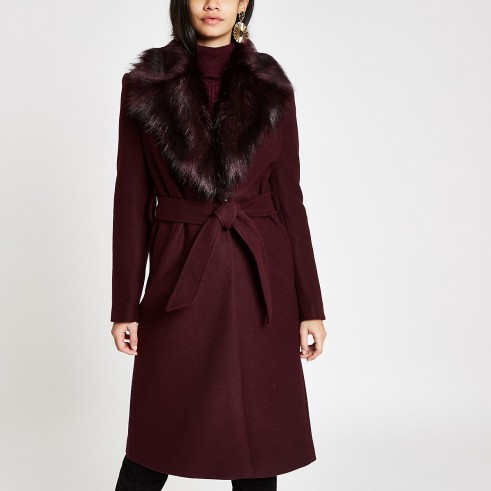 RIVER ISLAND Dark red faux fur trim belted robe coat – classic winter wrap coats