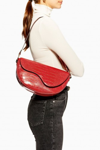 Topshop Demi Croc Shoulder Bag in Red
