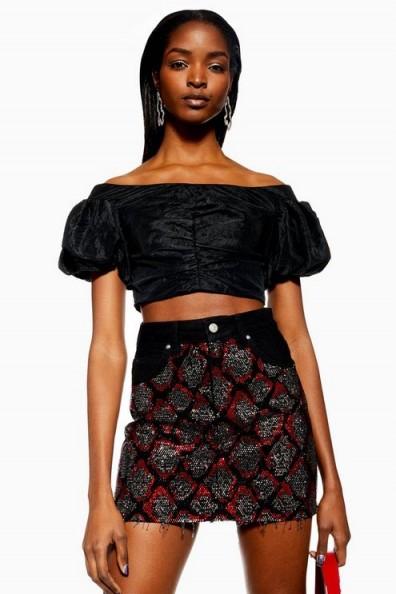 Topshop Denim Skirt with Snake Crystal in Washed Black | frayed hemline
