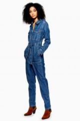 Topshop Denim Utility Boilersuit in Mid Stone   blue boiler suits
