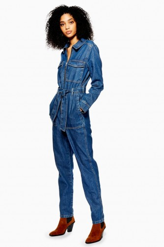 Topshop Denim Utility Boilersuit in Mid Stone | blue boiler suits