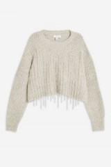Topshop Diamante Drip Jumper in Grey Marl | embellished sweater