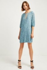 FRENCH CONNECTION DIANA SEQUIN PUFF SLEEVE DRESS in Frosty | sparkly blue shift