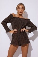 IN THE STYLE DINNA COPPER BARDOT GLITTER PLAYSUIT – metallic brown playsuits