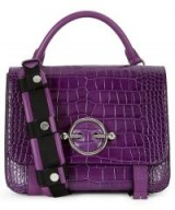 JW ANDERSON Disc Satchel in Purple Croc-Effect Leather