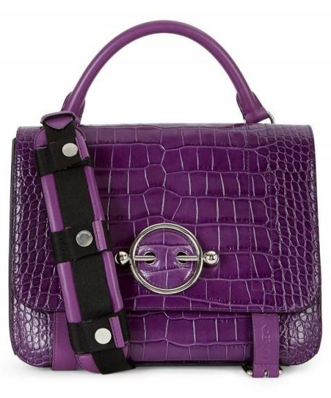 JW ANDERSON Disc Satchel in Purple Croc-Effect Leather