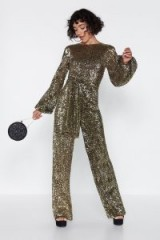 NASTY GAL Disco with It Sequin Jumpsuit in gold