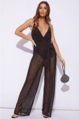 IN THE STYLE DIXEY BLACK GLITTER STRIPE PLUNGE JUMPSUIT – semi sheer party fashion